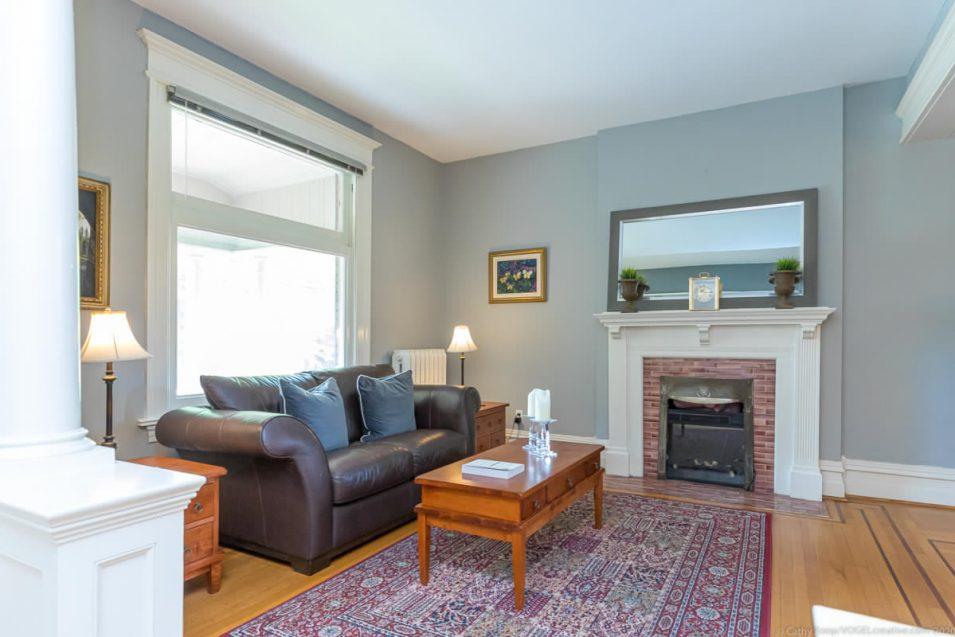 Side view of living room at 164 Duke Street, Hamilton