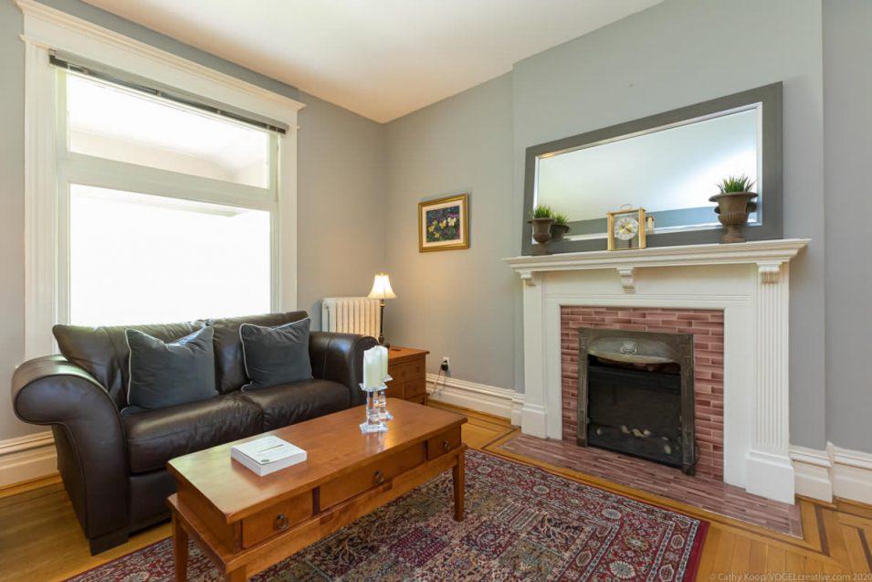 Fireplace and original features at 164 Duke Street, Hamilton