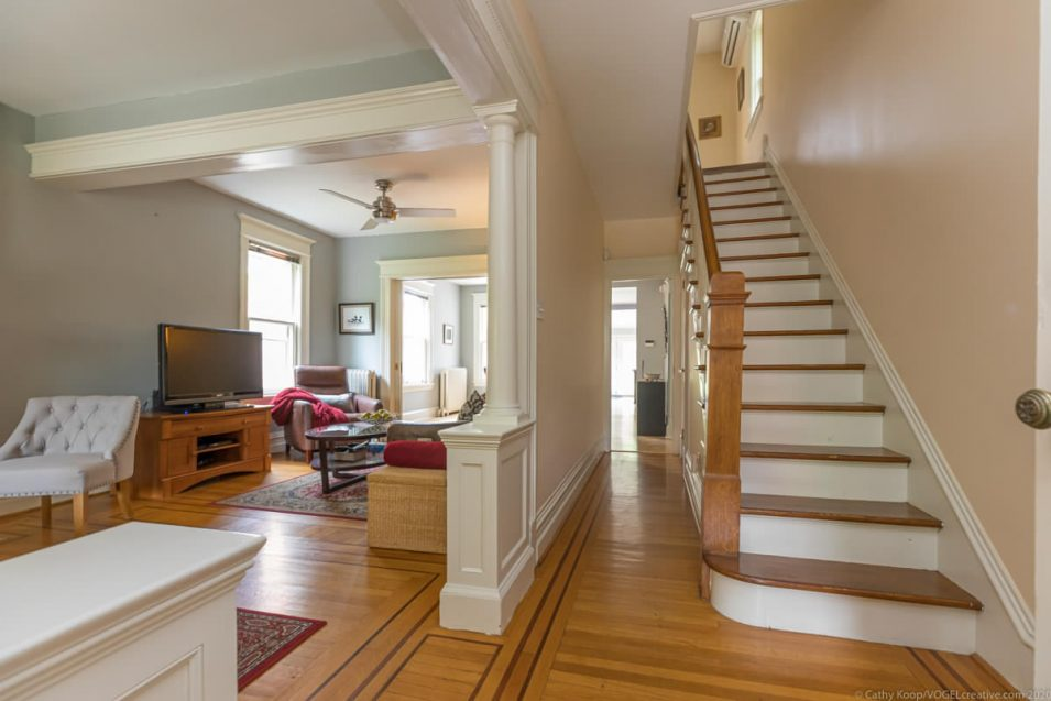 Front entryway and stairs in 164 Duke Street, Hamilton