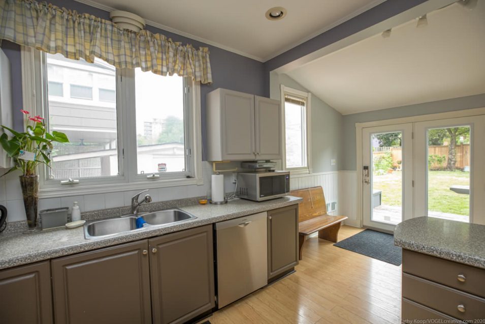 Kitchen and mud room at 164 Duke Street, Hamilton