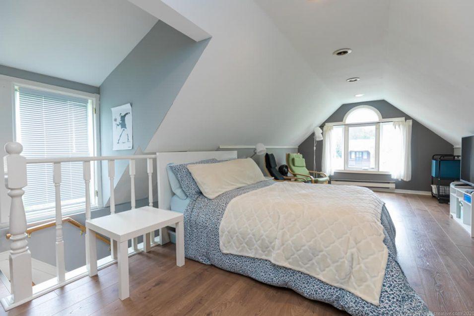 Loft bedroom at 164 Duke Street, Hamilton