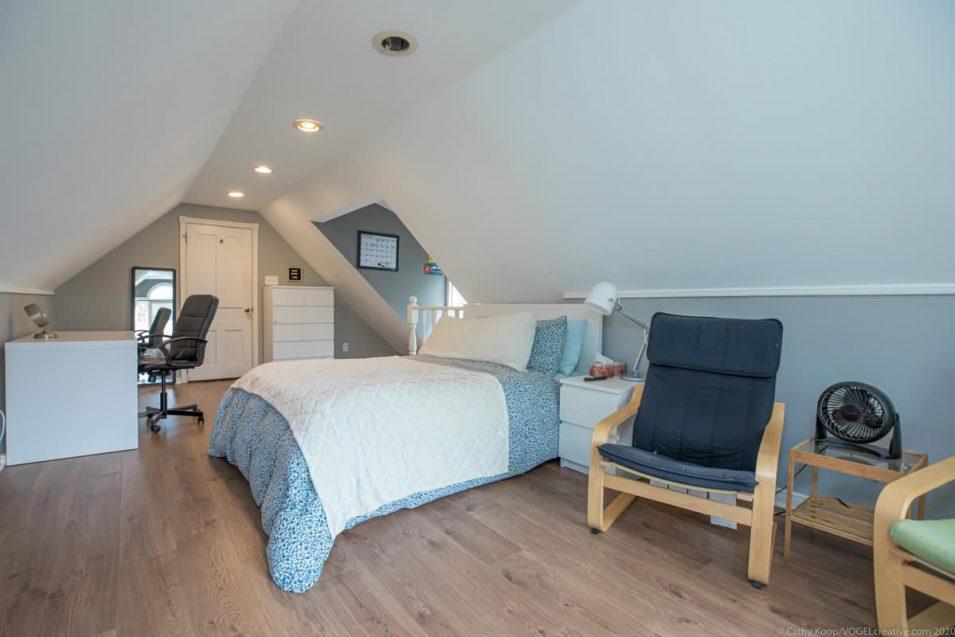 Loft bedroom and office space at 164 Duke Street, Hamilton